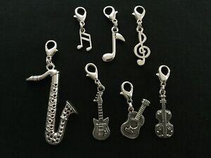 Music Clip Charms, Saxophone, Guitar, Violin, Cello, Treble Clef, Note, Quaver