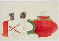 Darstellung von Herrentracht, 19. Jh., Bleistift und Aquarell 2v4
