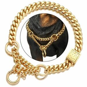 Dog Collar Chain Gold Stainless Steel Cuban Pitbull With Design Secure Buckle