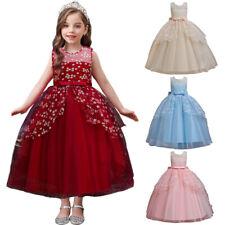 Bridesmaids Kids Girl Flower Princess Dress Party Birthday Pageant Mesh Dresses