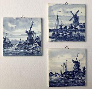 """Lot Of 3 Vintage Royal Delft 6"""" Blue/White Tile Boat/Windmill Holland Trivet Art"""