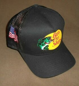 """""""BASS PRO SHOPS"""" BLACK HAT (ONE SIZE) - AMERICAN FLAG"""
