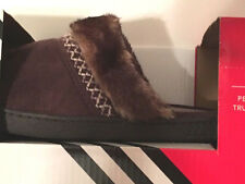 Isotoner Womens Slippers sz 8.5-9 Brown Suede Mules Clogs Slides New