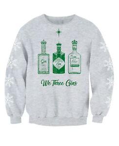 We Three Gins Adults Gin Drinkers Christmas Jumper Sweatshirt