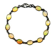 Opal Bracelet Ethiopian Welo Oval Bezel 7 Inch Adjustable Sterling Black Rhodium