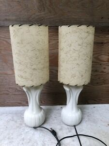2 Vintage Mid Century Modern MCM Small Table Lamps Shades Gold Strips Bed Side