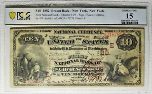 Fr 479 1882 $10 New York City The First National Bank Note PCGS 15 ~ Charter #29