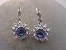 Rhinestone Silver Tone Dangle Earrings Estate Costume Joan Rivers Purple