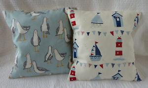 2 Cushion Covers 16 inch Seagull Bird Blue Grey Seaside Beach Hut Handmade 40cm