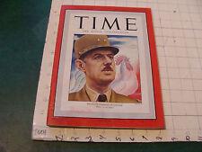 original vintage TIME MAGAZINE: France's CHARLES DE GAULLE nov 17, 1947  stained