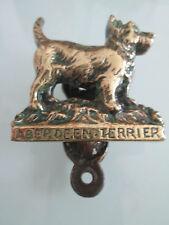 Miniatura OLD BRASS DOG Aberdeen Terrier Con Batacchio