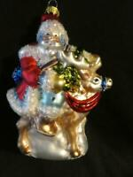 Glass Christmas Ornament Santa on Reindeer - Christmas Traditions AAF Gold Label