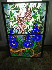 Stained Glass Flowers/leaves 3 Panel Folding Fireplace Screen 31.5H X 40.5L""