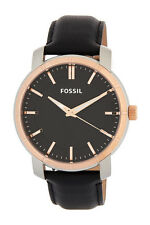 Fossil Lether Band Rose Gold Tone Men's Watch in Fossil Tin Gift Box BQ1286