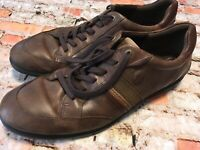 ECCO Men's Casual Leather Comfort Shoes Brown Lace Up Size 48 EU 14-14.5 US