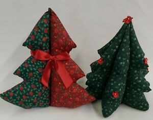 3D Stuffed Fabric Christmas Tree Plush Set of 2 Holiday Table Decor Centerpiece