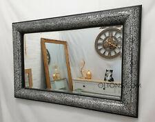 Crackle Mosaic Bow Design Wall Mirror Black Frame 120X80cm Glass Handmade Bling