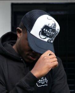 NEW KRAKEN SPICED RUM BLACK TRUCKER SNAP BACK CAP HAT VERY RARE TRADE BAR PUB