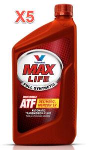 5 Qts. Auto. Trans. Fluid ATF VALVOLINE MaxLife Full Synthetic Dex/Mex MERCON LV
