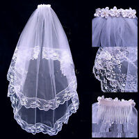 New Women White Bride Hen's Night Prop Wedding Hair Head flower Veil WITH COMB