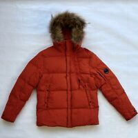 CP COMPANY 50 Fili Trim Hood Mid Parka Jacket with Real Fur Hood FW19/20 orange