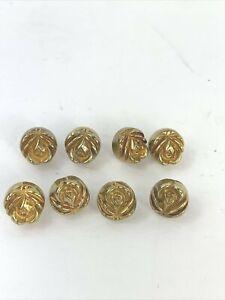 """Vintage Brass Button Embossed Rose Flower Back Shank 3/8"""" Lot of 9"""