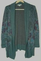 Pendleton Womens Large Open Front Cardigan Sweater 100% Merino Wool Blue Gray
