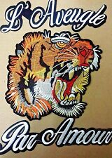 Tiger Head Patch LARGE - NEW Sew On with iron on Lettering FREE USA Shipping!