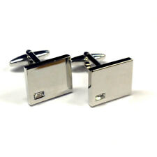 Corner Design Cuff Links Gift New Silver Highly Polished Cufflinks Clear Crystal