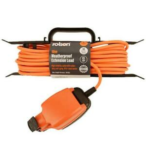 Outdoor Weatherproof Extension Lead 10m H-Frame 1 Socket Power Orange Cable 13A