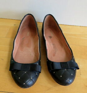 Stylish Black Padded Quilted Leather Ballet Flat Shoes with Bow from MARCS - Siz