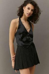 Urban Outfitters UO Dakota Satin Waistcoat Top Black S UK 8 New BNWT £39