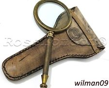 Vintage  Collectable Brass Magnifying Glass with Leather Case