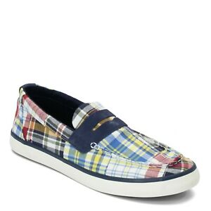 Sperry Men's Mainsail Penny Madras Memory Foam Slip On Boat Shoes Size:US 11 NIB