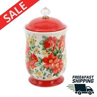 Floral Canister with Acrylic Knob 10 inch Vintage Coffee Flour Tea Food Storage