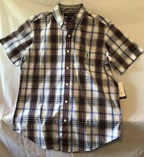 U.S. Polo Assn. Blue/Black/Gray Plaid Short Sleeve Dress Shirt. Mens M. NWT.