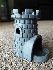 """CASTLE DICE TOWER TRAY ROLLER 6"""" high DND Dungeons and Dragons, RPG 3D printed"""