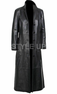 New Men's Classic Party Style Casual Wear Formal Long Black Leather Trench Coat