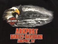 Harley Davidson Motorcycles T Shirt Men's Size XL Arkport NY Black Short Sleeve