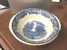 "Royal Tudor Ware Olde England Staffordshire 9"" Blue & White Transferware Bowl"