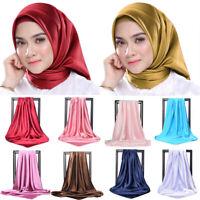 Satin Stretchy Maxi Muslim Hijab Turban Head Scarf Shawl Wrap Cover Solid Color