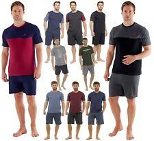 Mens Cotton Pyjamas Shorts Bottoms Set Short Sleeve T Shirt Tops Pants Summer PJ
