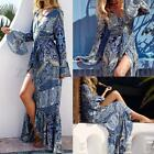 ZANZEA Women Irregular Boho Print Long Sleeve V Neck Split Beach Long Maxi Dress