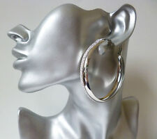 """Big & fab silver tone & sparkly glitter CLIP ON wide hoop earrings 6cm - 2.4"""""""