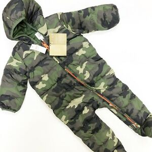 NWT Baby Boy Gap Puffer Snowsuit Coat Green Camo Hooded One Piece 12-18 Months