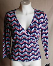 Juniors Energie Wavy Multicolor Print ¾ Sleeve Wrap Sports Top Size XL