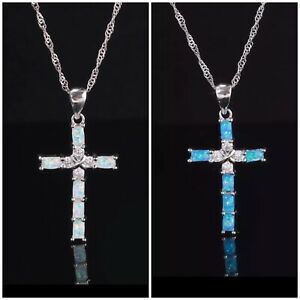 Opal Fire Blue White Religious Cross Crucifix Topaz on Silver Pendant Necklace
