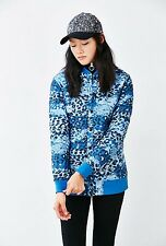 NEW WOMEN'S THE NORTH FACE ANNA BLUE LEOPARD PRINT INSULATED JACKET SIZE MEDIUM