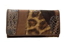 Ladies Genuine Leather Clutch Wallet with Embossed Snake Print