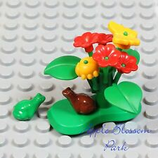 NEW Lego Minifig LILY PAD Green Plant w/Yellow Beetle Butterfly Red Flower Frogs